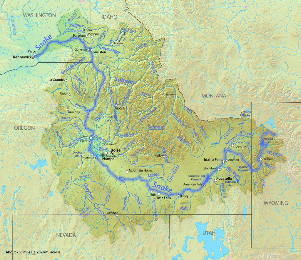 Map of the Snake River watershed with the Snake River Highlighted. Map