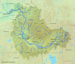 Map of the Snake River watershed with the Snake River Highlighted. Map via the USGS, modified by Shannon1 via Wikimedia Commons.
