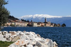 The waterfront of Salò, a town on the banks of Lake Garda in Lombardy