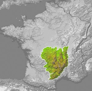 Map of the Massif Central by Technob105, via Wikimedia Commons