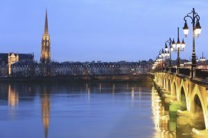 The Pont de Pierre (Stone Bridge) over the Garonne in the city of Bordeaux
