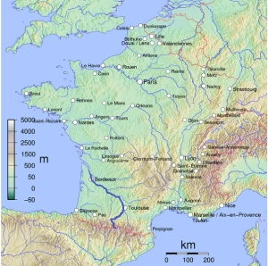 Map of the Garonne by Boerkevit, via Wikimedia Commons