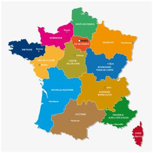 Administrative map of the 13 (new as of 2016) regions of France