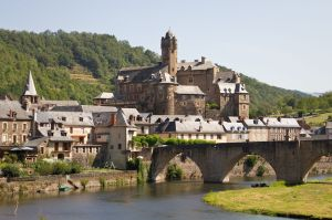 The town of Estaing on the Lot River