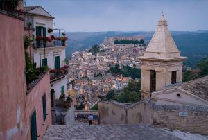 The town of Noto at sunset